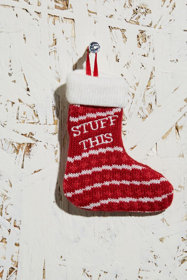 Knitted Christmas Ornament, STUFF THIS STOCKING RED