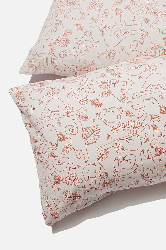 Novelty Pillow Cases Set Of 2, SLOTH YARDAGE