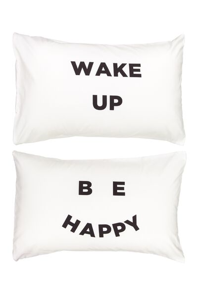 Novelty Pillow Cases Set Of 2, BE HAPPY