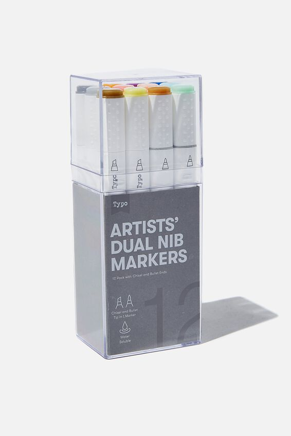 Artists Dual Nib Marker 12Pk, PASTEL