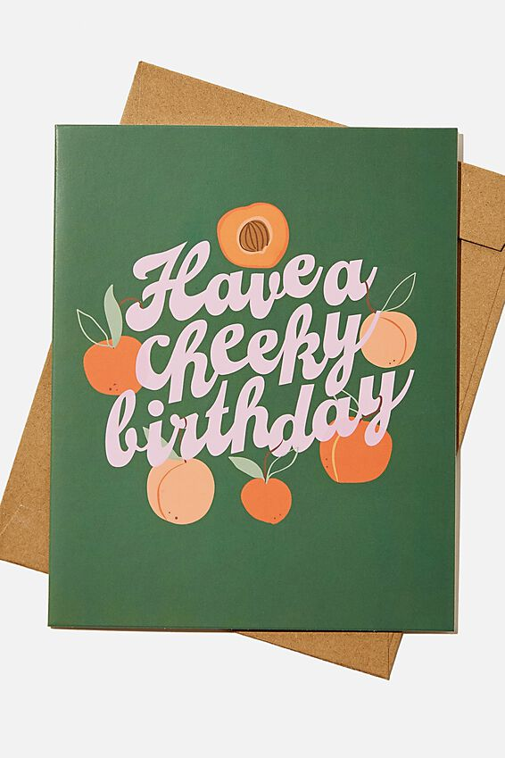 Premium Funny Birthday Card, SCENTED PEACH CHEEKY BIRTHDAY