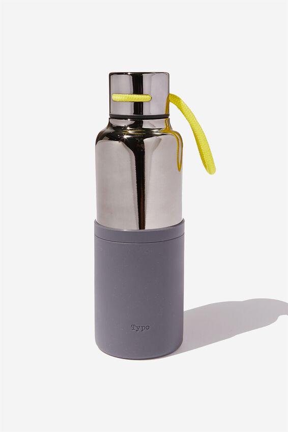 The Loop Metal Drink Bottle, BLACK NEON CORD