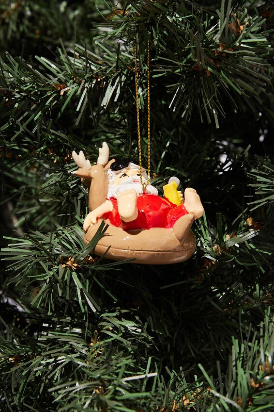 Resin Christmas Ornament, FLOATIE SANTA