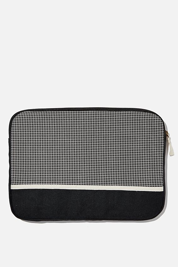 Canvas 13 Inch Laptop Case, BLACK GRID CHECK