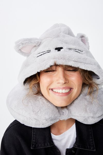 Travel Neck Pillow with Hood, FLUFFY CAT