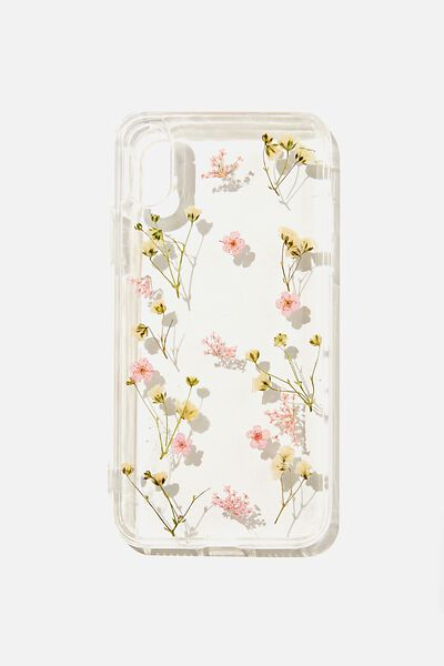 Snap On Protective Phone Case X, Xs, PINK TRAPPED MICRO FLOWERS