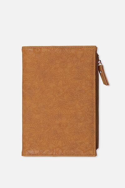 Travel Zip Journal, MID TAN FLORAL EMBOSSED