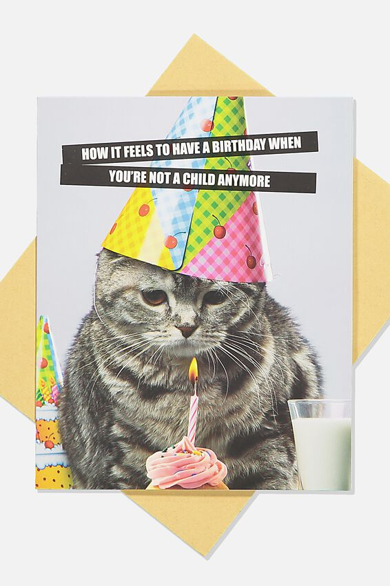 Funny Birthday Card, NOT A CHILD ANYMORE CAT MEME