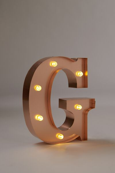 Marquee Letter Lights Premium 16cm Midi, ROSE GOLD G