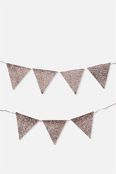 Diy Fabric Bunting, ROSE GOLD GLITTER