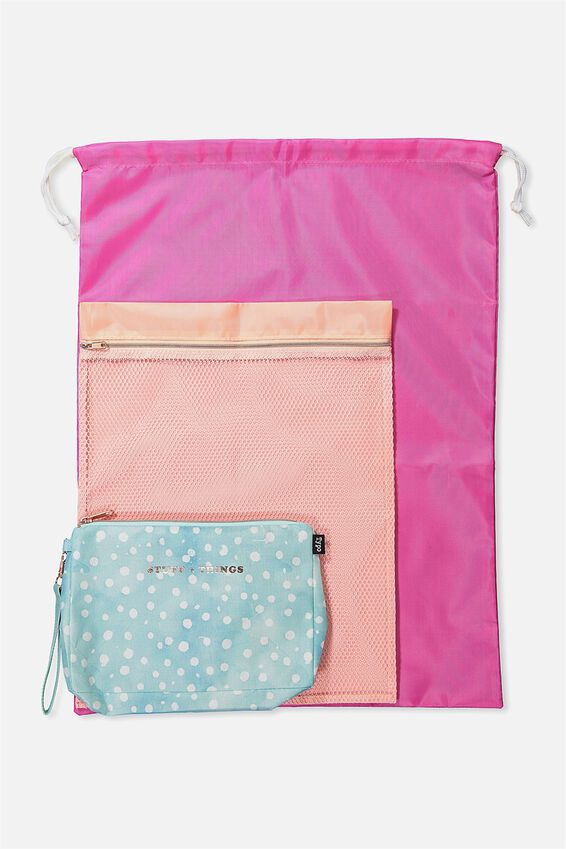 3 Pc Travel Organiser Bags, AQUA POLKA