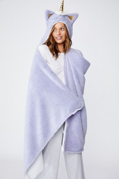 Novelty Hooded Blanket, LILAC UNICORN