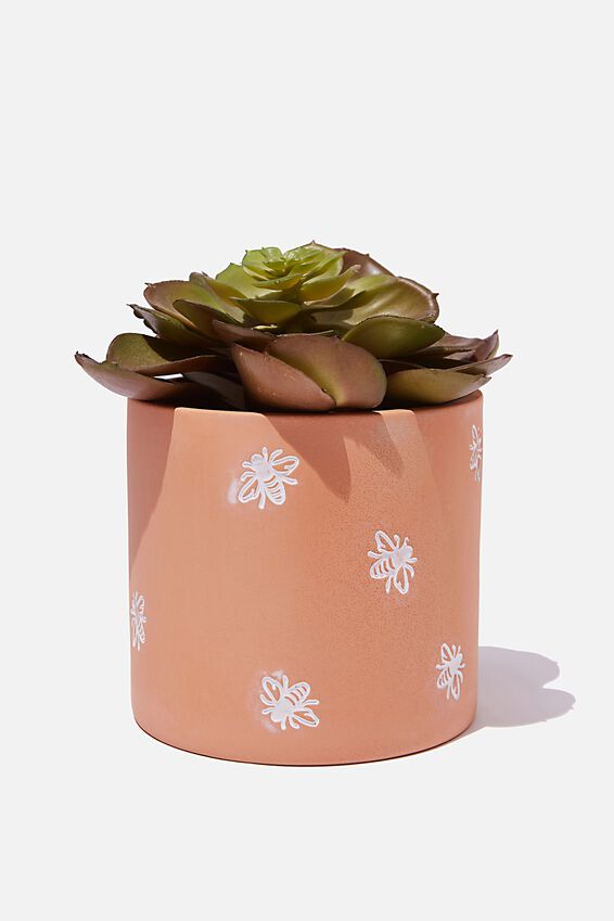 Small Shaped Planter, TERRACOTTA BEES