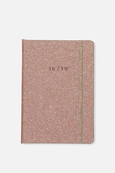 2018 19 A5 Daily Buffalo Diary, ROSE GOLD GLITTER