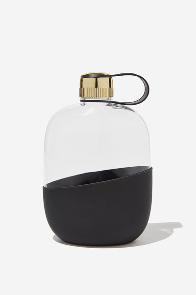 Happy Camper Drink Bottle, CLEAR & BLACK