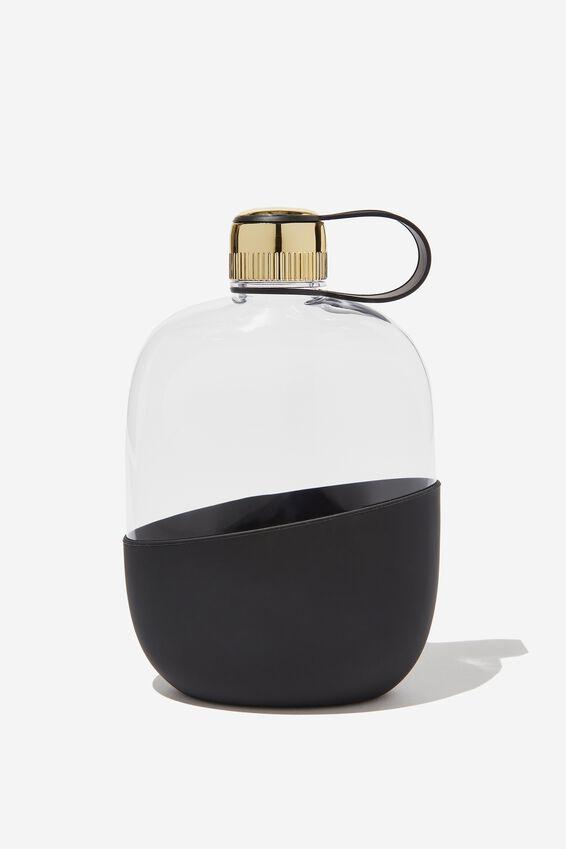 Happy Camper Drink Bottle, CLEAR & BLACK