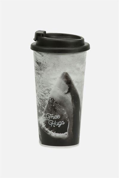 Printed Travel Mug, FREE HUGS SHARK