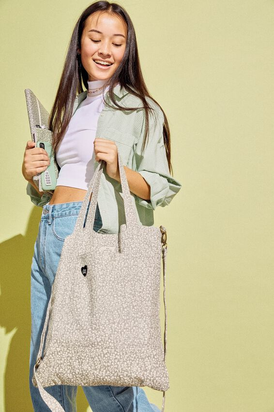 Book Tote Bag, COOL GREY MEADOW DITSY