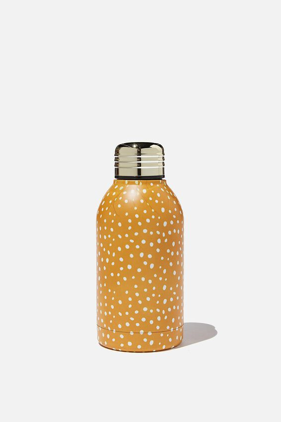 Mini Metal Drink Bottle, MUSTARD POLKA DOT 2