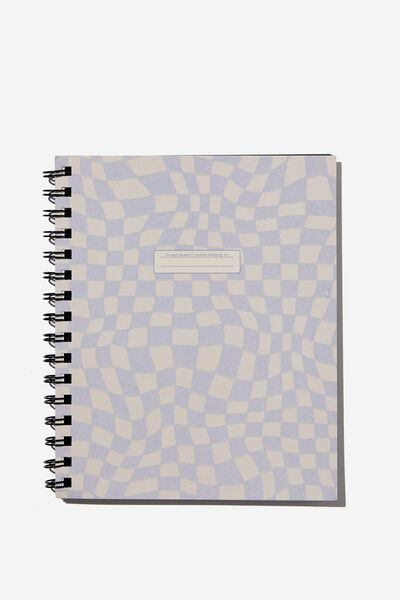 A5 Campus Notebook Recycled, LILAC WARPED CHECKERBOARD BOOK PLATE