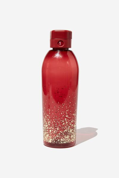 The Counter Drink Bottle, RED GOLD SPLATTER