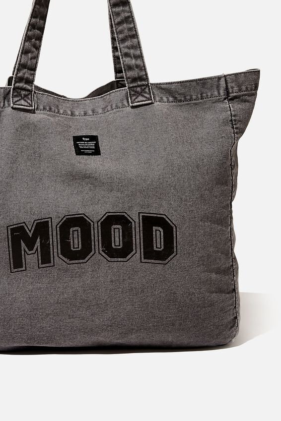 Quote Tote Bag, MOOD WASHED BLACK