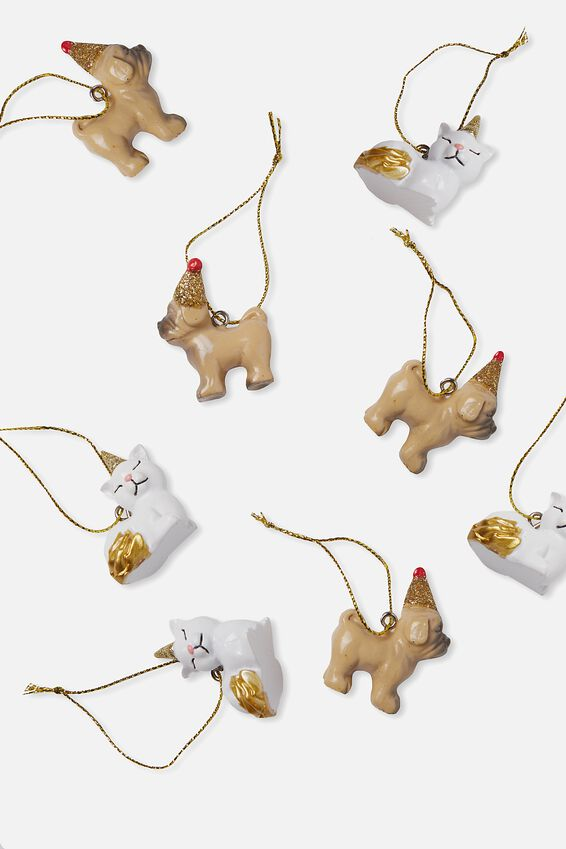 Mini Ornaments 8Pk, PARTY PUG & PARTY CAT