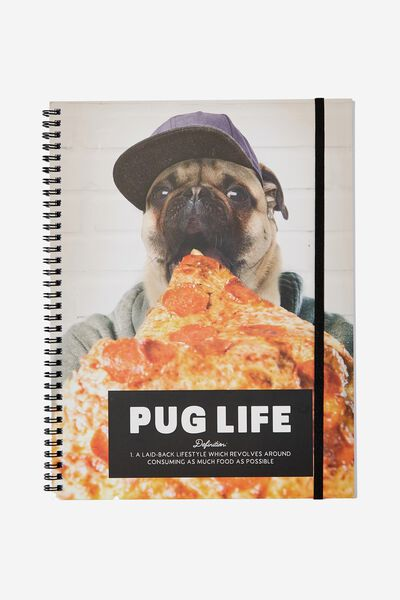 A4 Spinout Notebook - 120 Pages, PUG LIFE PIZZA