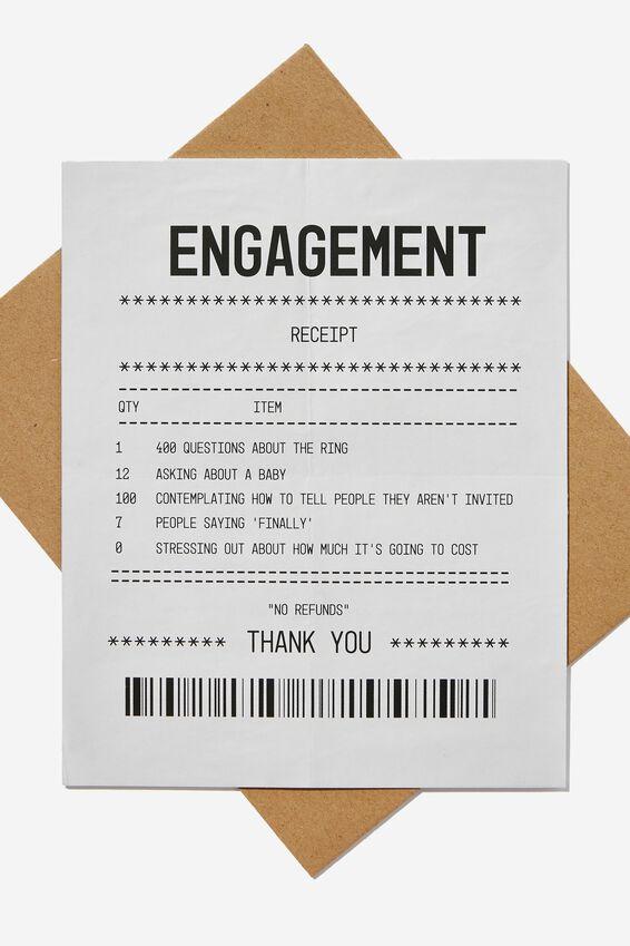 Engagement Card, ENGAGEMENT RECEIPT