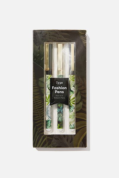 Flash Fash 3 Pk Pens, FOLIAGE MIX