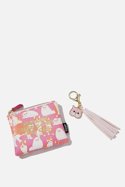 Coin Purse And Bag Charm Set, CAT