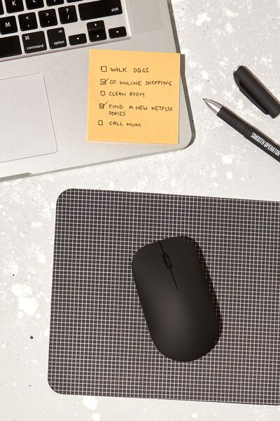 Neoprene Mouse Pad, BLACK GRID