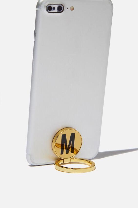 Metal Alpha Phone Ring, GOLD M