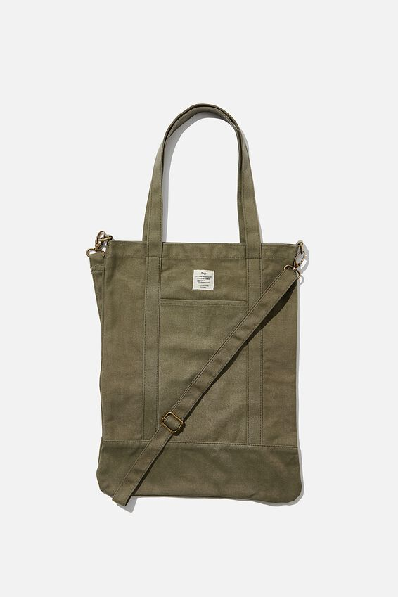 Book Tote Bag, WASHED KHAKI