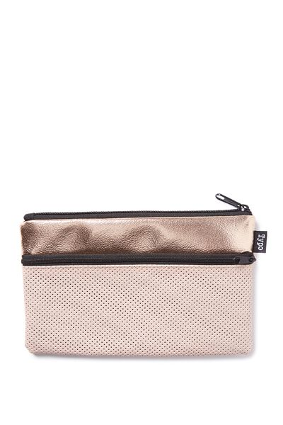 Deluxe Archer Pencil Case, BLUSH ROSE GOLD PERFORATED