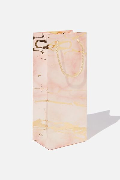 Bottle Gift Bag, MARBLE PINK GOLD