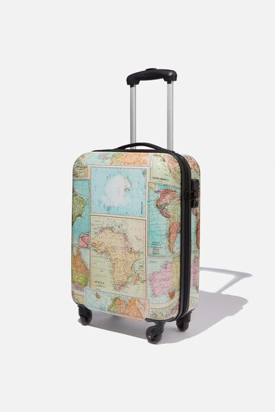 Tsa Small Suitcase, WORLD MAP PRINT