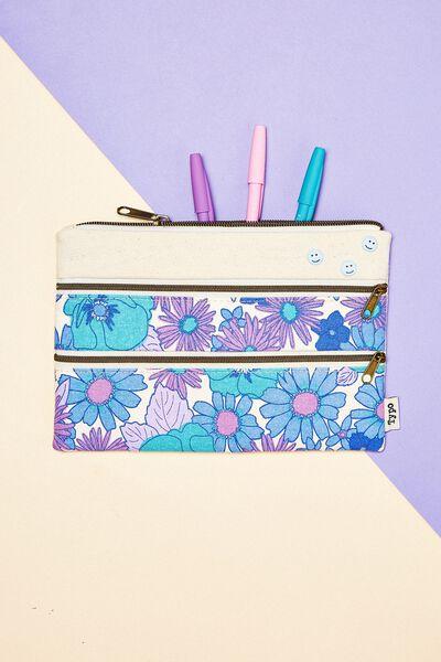Double Archer Pencil Case, BLUE STEVIE FLORAL