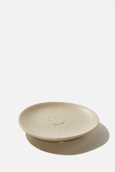 Mood Ceramic Tray, RAW CERAMIC HAPPY FACE