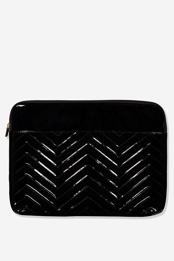 Take Charge 15 Inch Laptop Cover, BLACK QUILTED CHEVRON