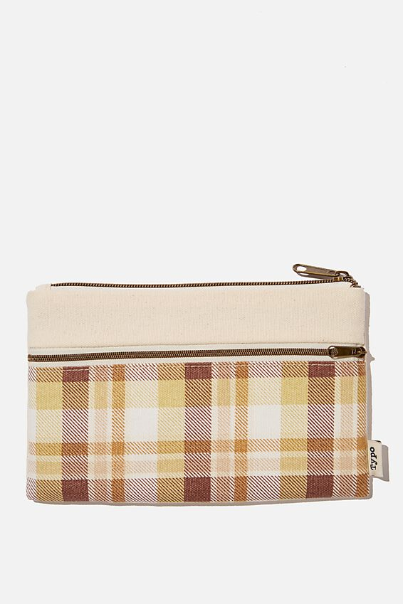 Archer Pencil Case, THICK CHECK BROWNS