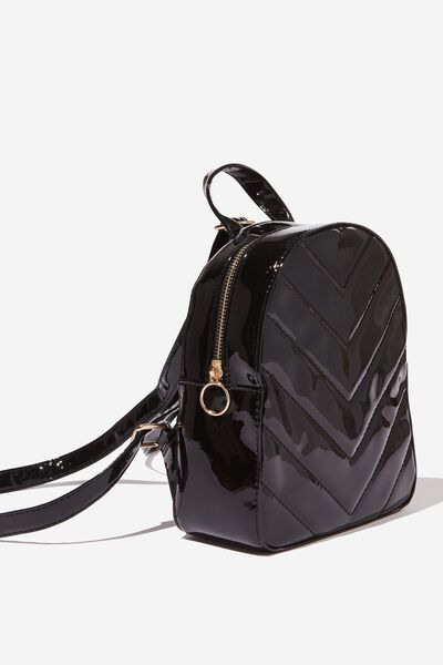 Mini Arch Backpack, BLACK PATENT QUILT