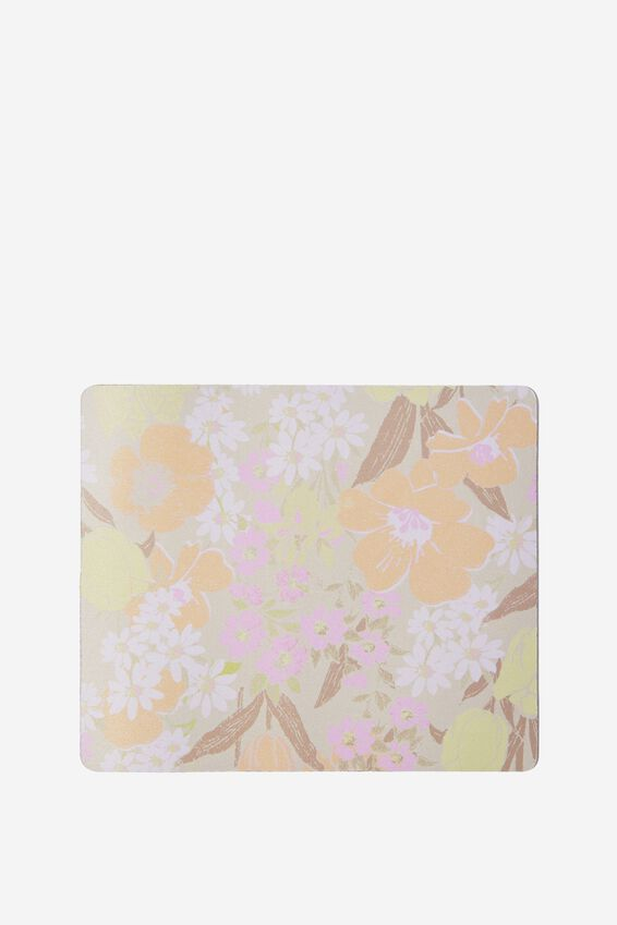 Neoprene Mouse Pad, SAND GOLDIE FLORAL