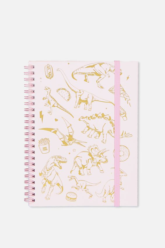 Small Spinout Notebook - V, PINK DINOSAURS