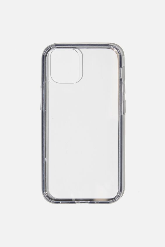 Snap On Protective Phone Case Iphone 12 Mini, CLEAR WITH SEMI-TRANSPARENT BLACK
