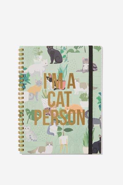 A5 Spinout Notebook - 120 Pages, CAT PERSON