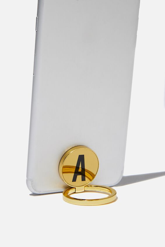 Metal Alpha Phone Ring, GOLD A