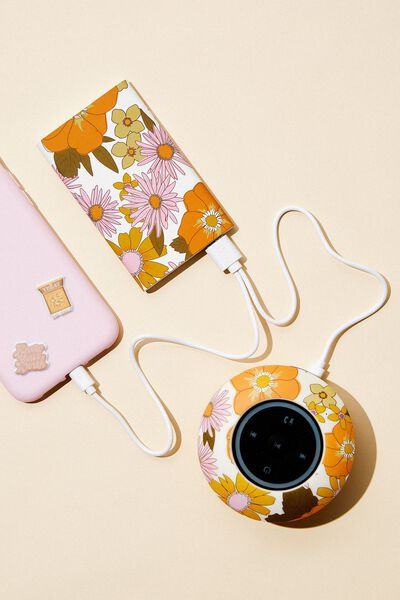 Printed Charge It Charger, STEVIE FLORAL ORANGE AND PINK