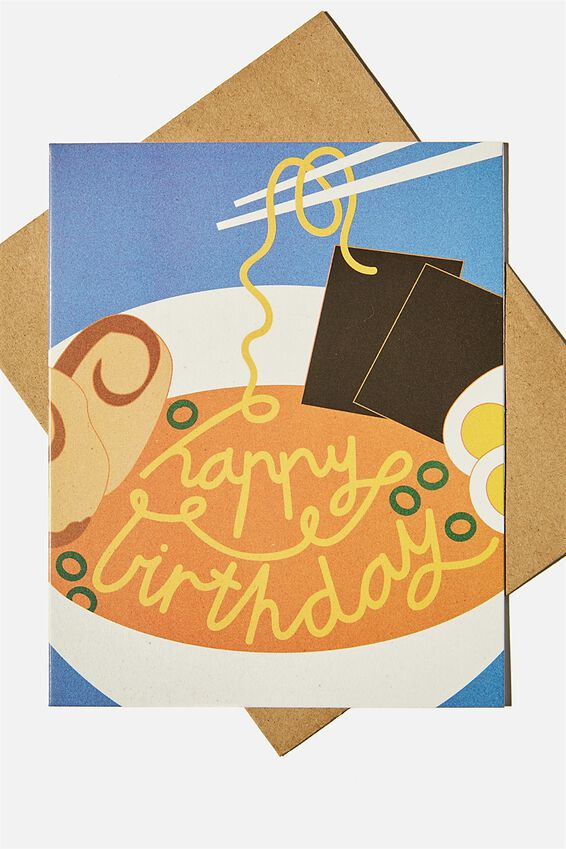 Nice Birthday Card, RAMEN BOWL BIRTHDAY ILLUSTRATION