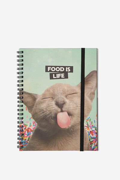 A5 Spinout Notebook - 120 Pages, CAT FOOD IS LIFE
